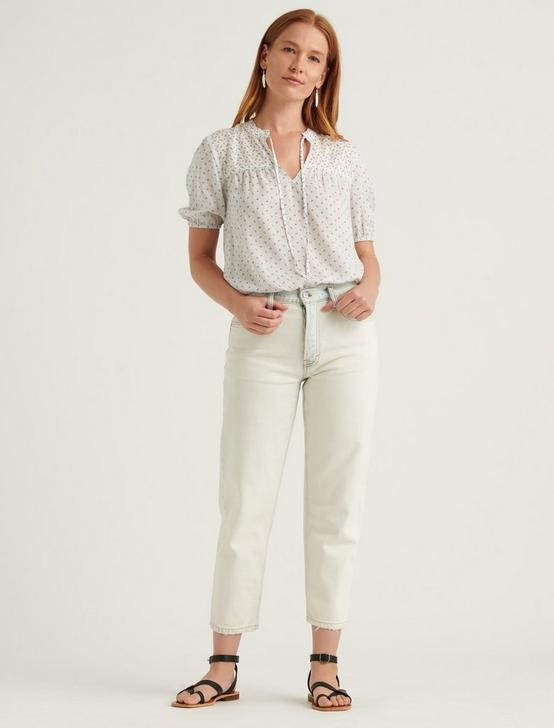 CLARA SHORT SLEEVE TOP, NATURAL MULTI, productTileDesktop