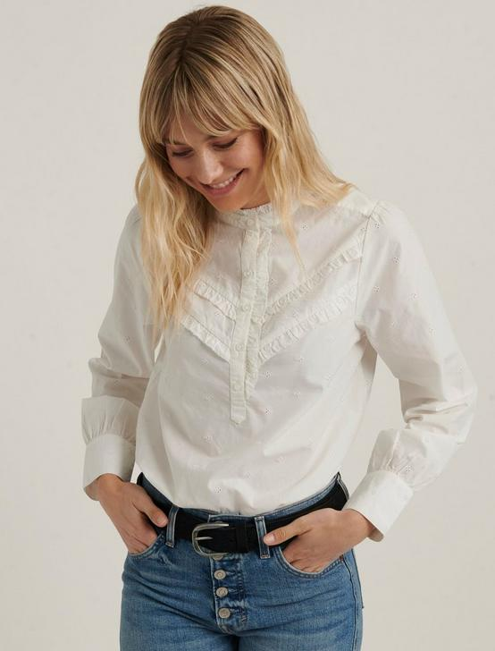 ELSA EMBROIDERED POPOVER TOP, LUCKY WHITE, productTileDesktop
