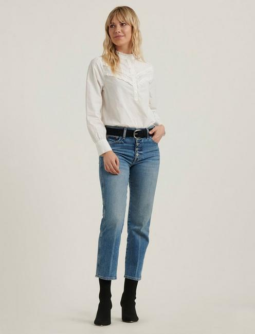 ELSA EMBROIDERED POPOVER TOP, LUCKY WHITE