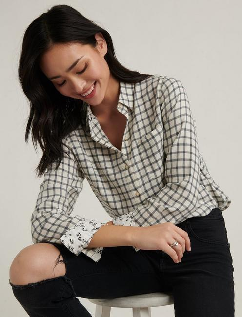 CLASSIC ONE POCKET PLAID SHIRT, GREY MULTI