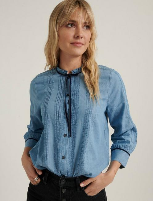 QUINN PINTUCK BLOUSE, MEDIUM WASH