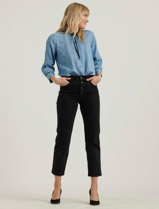 QUINN PINTUCK BLOUSE, MEDIUM WASH, productTileDesktop