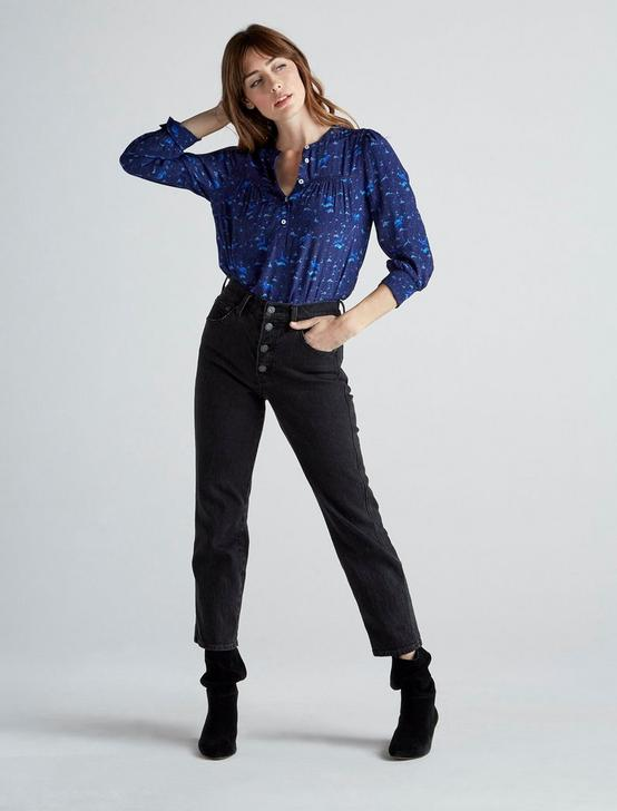 SOPHIE POPOVER TOP, NAVY MULTI, productTileDesktop