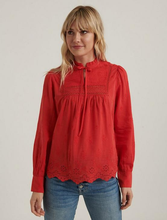 CORA EMBROIDERED BLOUSE, FIERY RED, productTileDesktop
