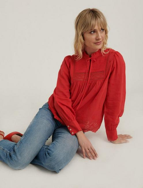 CORA EMBROIDERED BLOUSE, FIERY RED