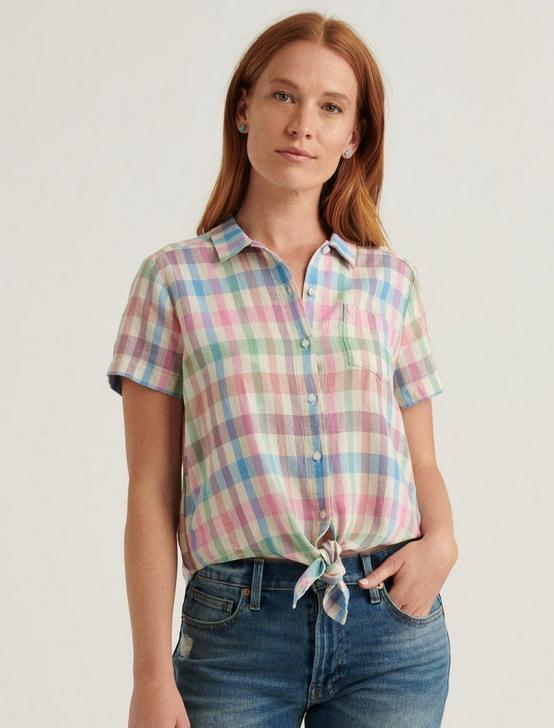 TIE FRONT SHORT SLEEVE SHIRT, MULTI, productTileDesktop