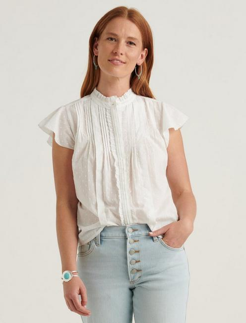 FLUTTER SLEEVE POET BLOUSE TOP,