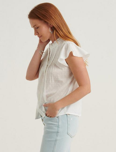FLUTTER SLEEVE POET BLOUSE TOP, LUCKY WHITE