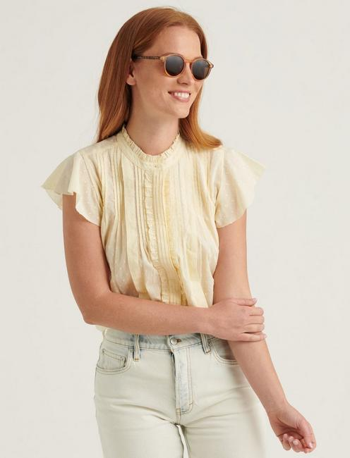 FLUTTER SLEEVE POET BLOUSE TOP, TRANSPARENT YELLOW