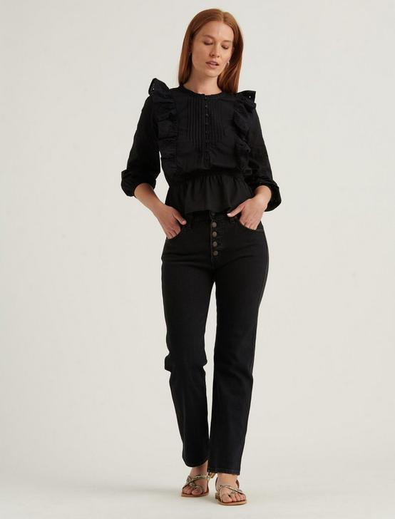 NAOMI PEPLUM TOP, 001 LUCKY BLACK, productTileDesktop