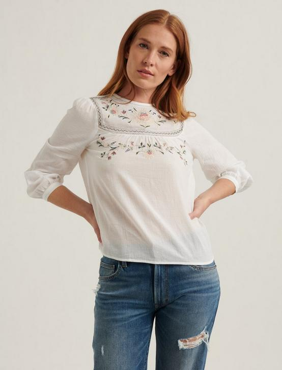 EMBROIDERED YOKE TOP, LUCKY WHITE, productTileDesktop