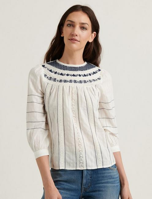 ZOEY EMBROIDERED PEASANT TOP,