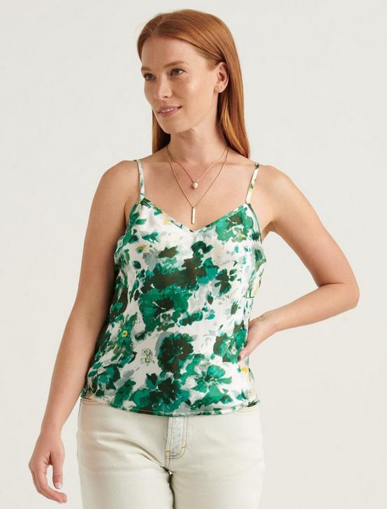 PRINTED NATALIE CAMI TOP, GREEN MULTI, productTileDesktop