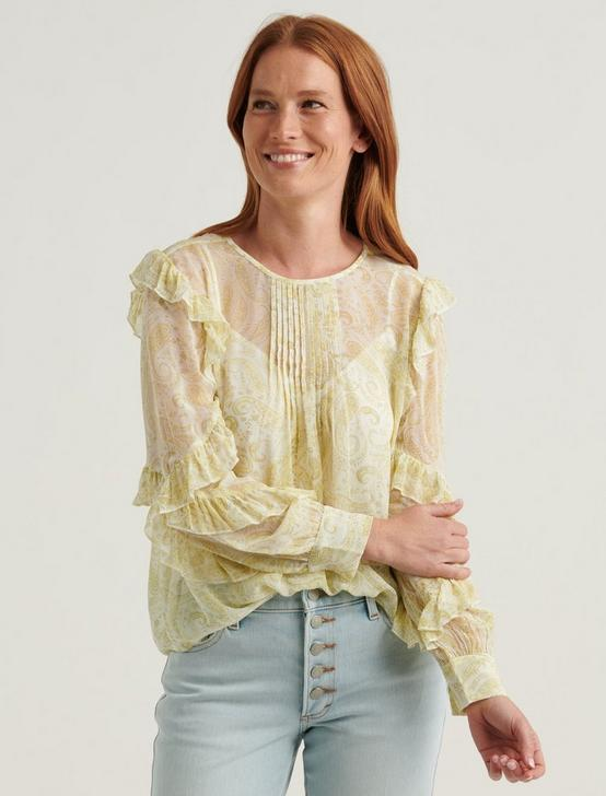 GEORGETTE RUFFLE BLOUSE TOP, YELLOW MULTI, productTileDesktop