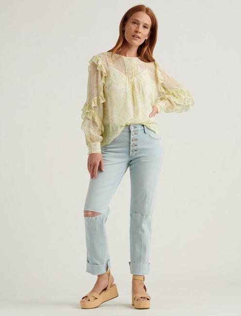 GEORGETTE RUFFLE BLOUSE TOP, YELLOW MULTI