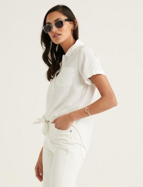 TIE FRONT SHORT SLEEVE SHIRT, LUCKY WHITE