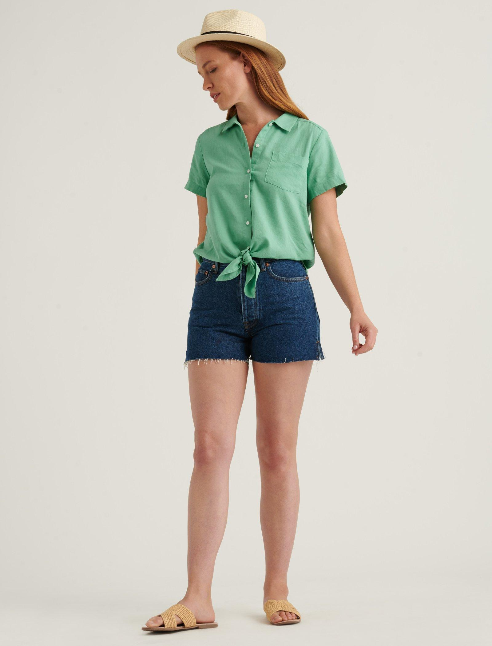 TIE FRONT SHORT SLEEVE SHIRT, image 2
