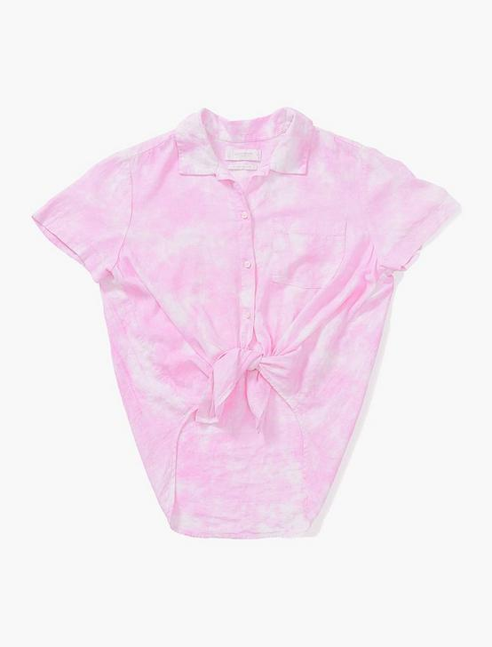 TIE FRONT SHORT SLEEVE SHIRT, PINK MULTI, productTileDesktop