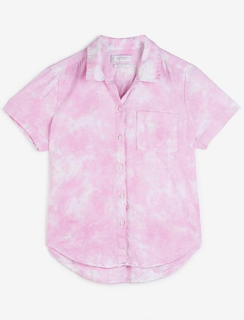 TIE FRONT SHORT SLEEVE SHIRT, PINK MULTI