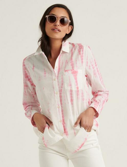 CLASSIC ONE POCKET SHIRT, PINK MULTI