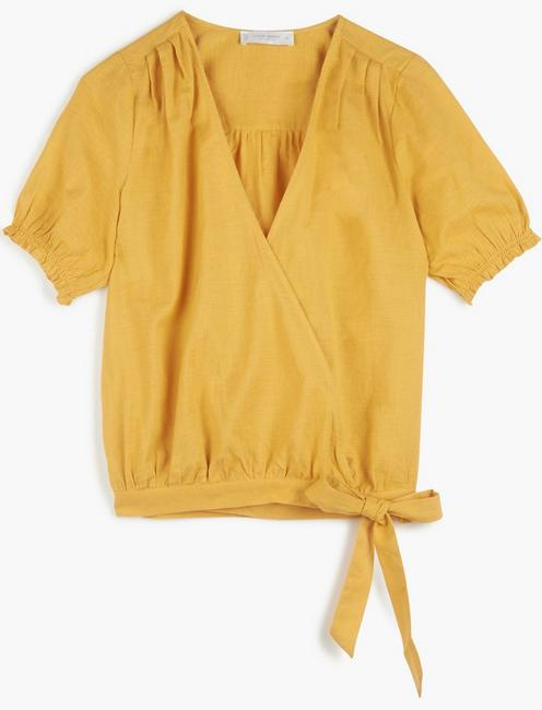TEXTURED WRAP TOP, BRIGHT GOLD