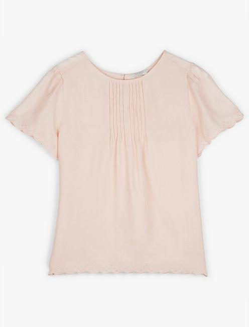 PINTUCK WOVEN TEE, SHRINKING VIOLET