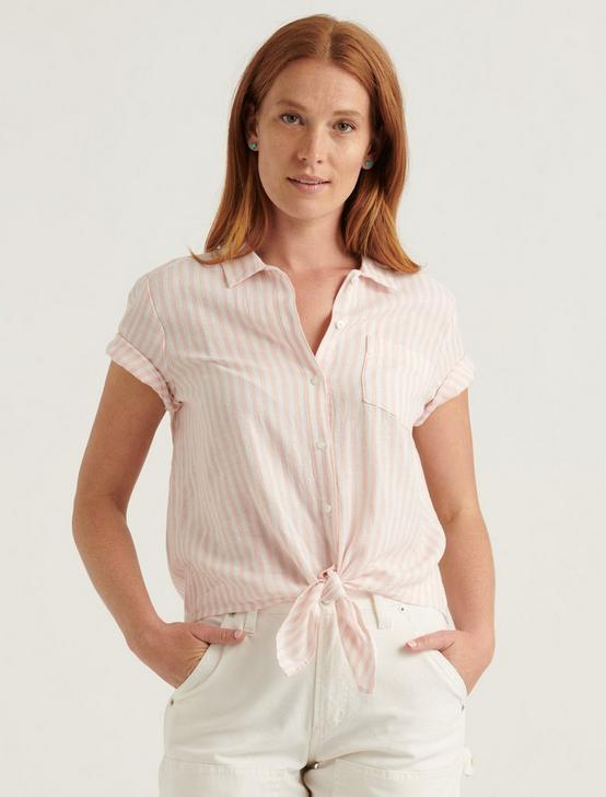 TIE FRONT SHORT SLEEVE SHIRT, PEACH MULTI, productTileDesktop