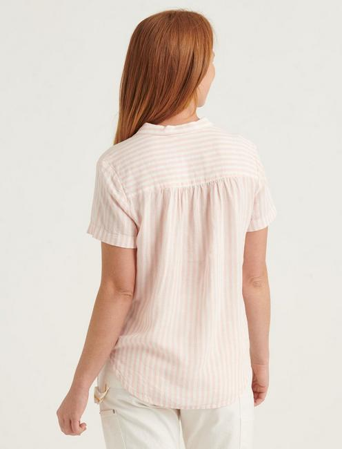 TIE FRONT SHORT SLEEVE SHIRT, PEACH MULTI
