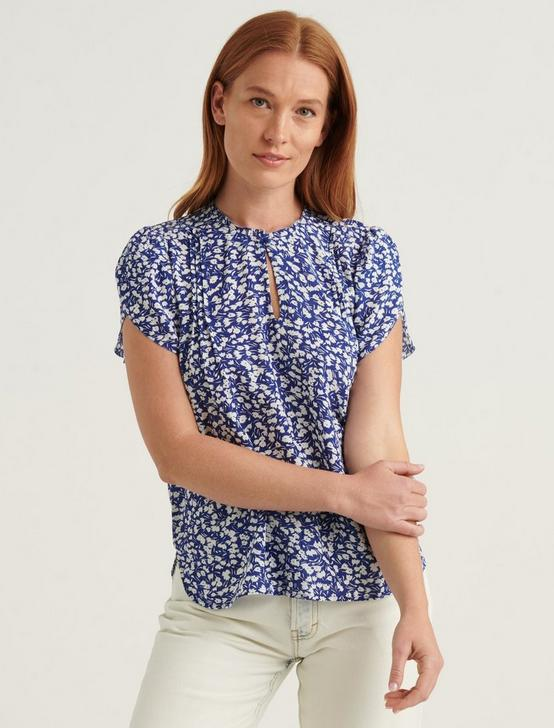 TULIP SLEEVE TOP, NAVY MULTI, productTileDesktop