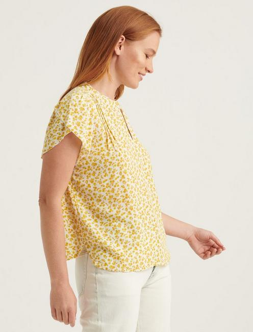 TULIP SLEEVE TOP, YELLOW MULTI