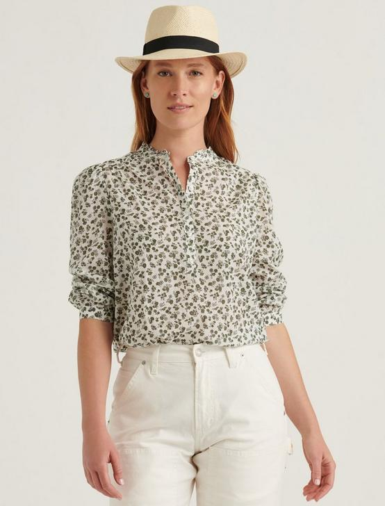 MEGAN POPOVER TOP, OLIVE MULTI, productTileDesktop
