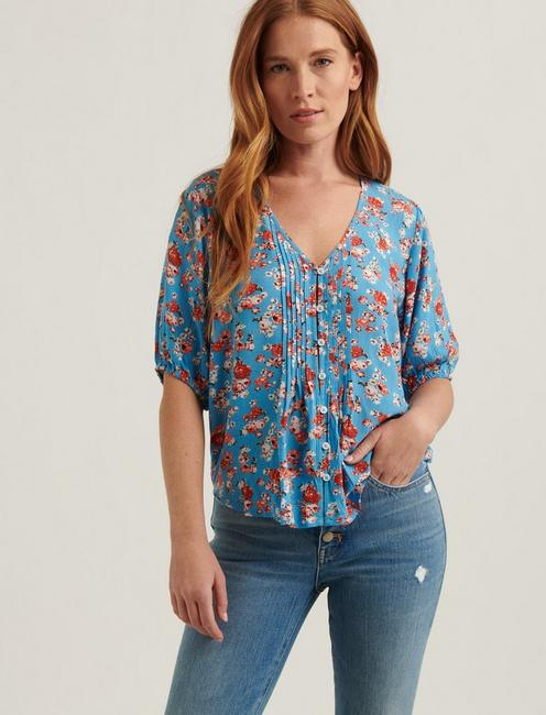 SHORT SLEEVE PINTUCK TOP, BLUE MULTI
