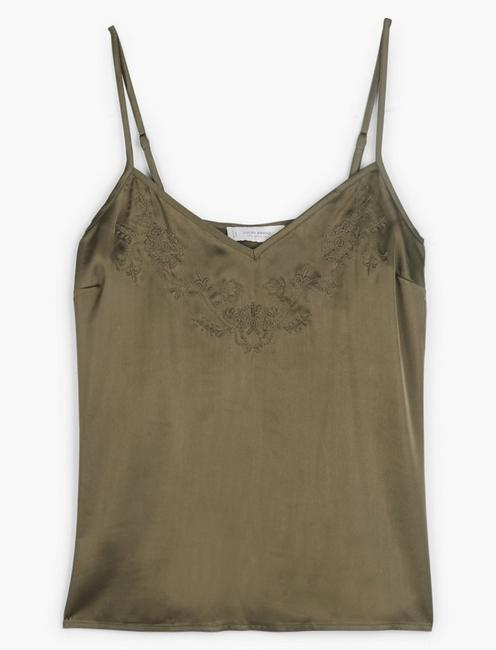 EMBROIDERED SILKY CAMI,