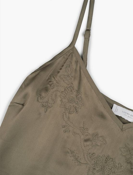 EMBROIDERED SILKY CAMI, GRAPE LEAF, productTileDesktop