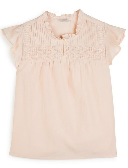 PINTUCK FLUTTER SLEEVE TOP, CLOUD PINK