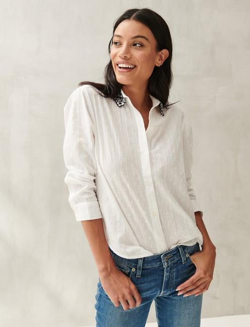 EMBROIDERED POET SHIRT, BRIGHT WHITE
