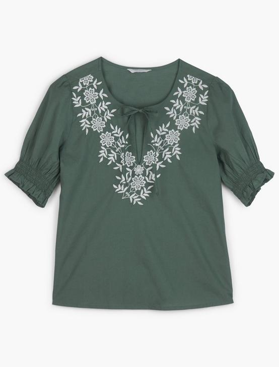 EMBROIDERED FEMININE BLOUSE, LAUREL WREATH, productTileDesktop
