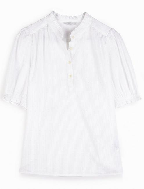 FEMININE POPOVER TOP, BRIGHT WHITE