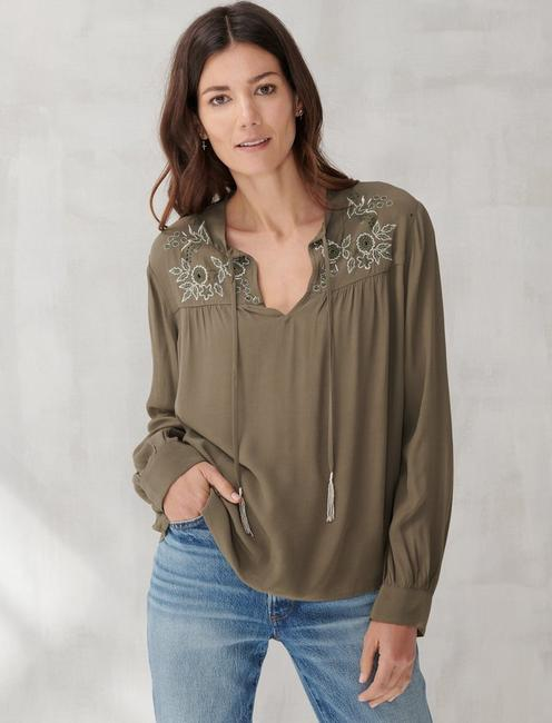 Lucky Brand Womens Plus Size Metallic Embroidery Peasant Top