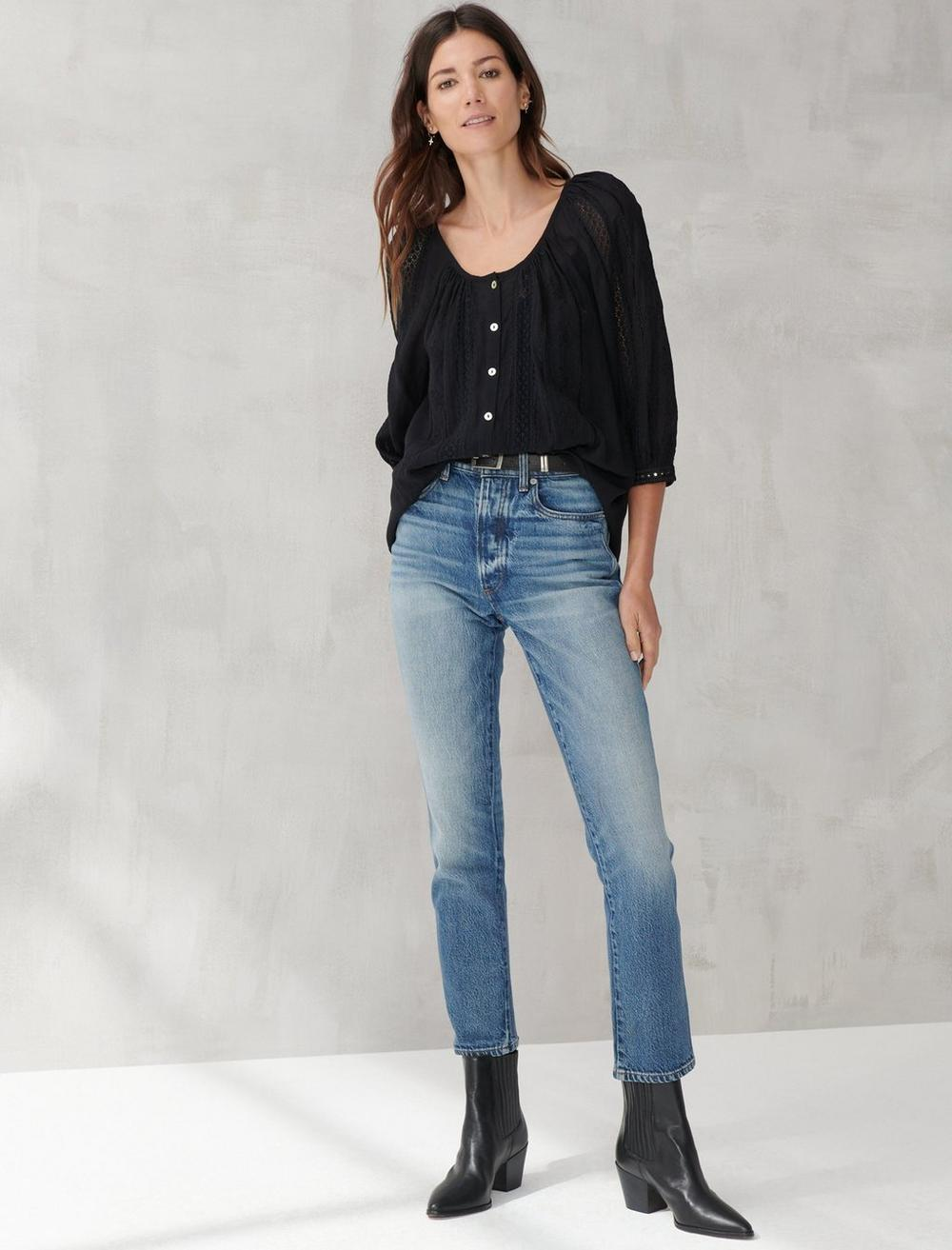 LACE INSET EMBROIDERED BUTTON TOP, image 2