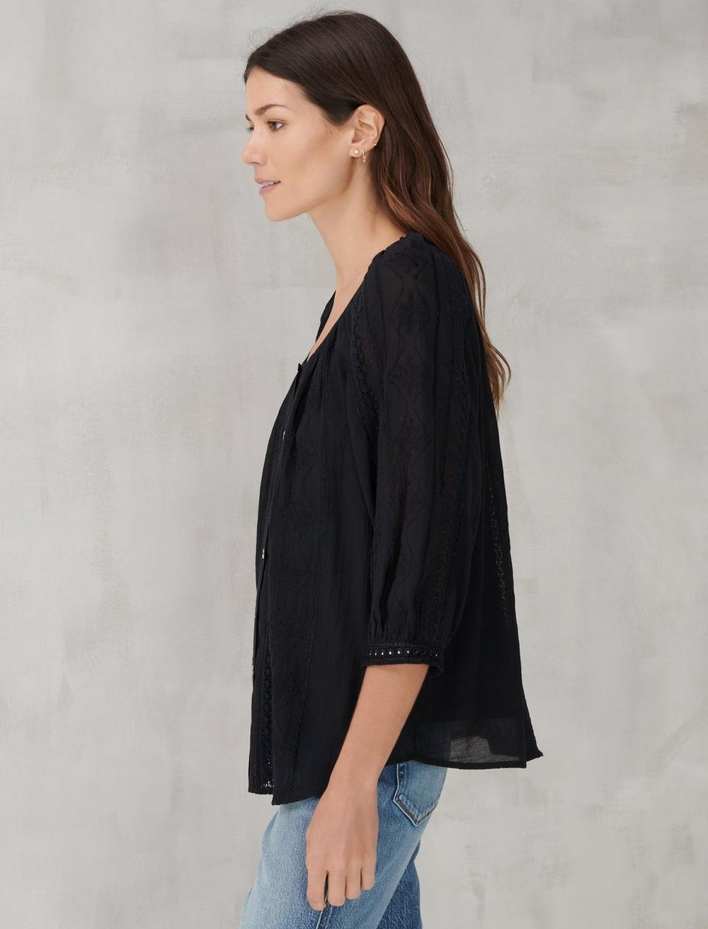 LACE INSET EMBROIDERED BUTTON TOP, image 3
