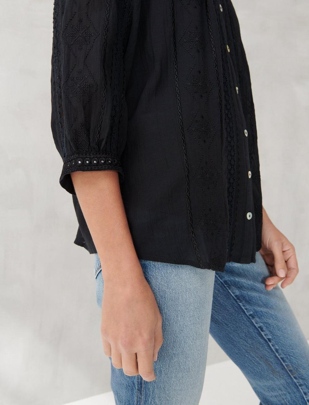 LACE INSET EMBROIDERED BUTTON TOP, image 5