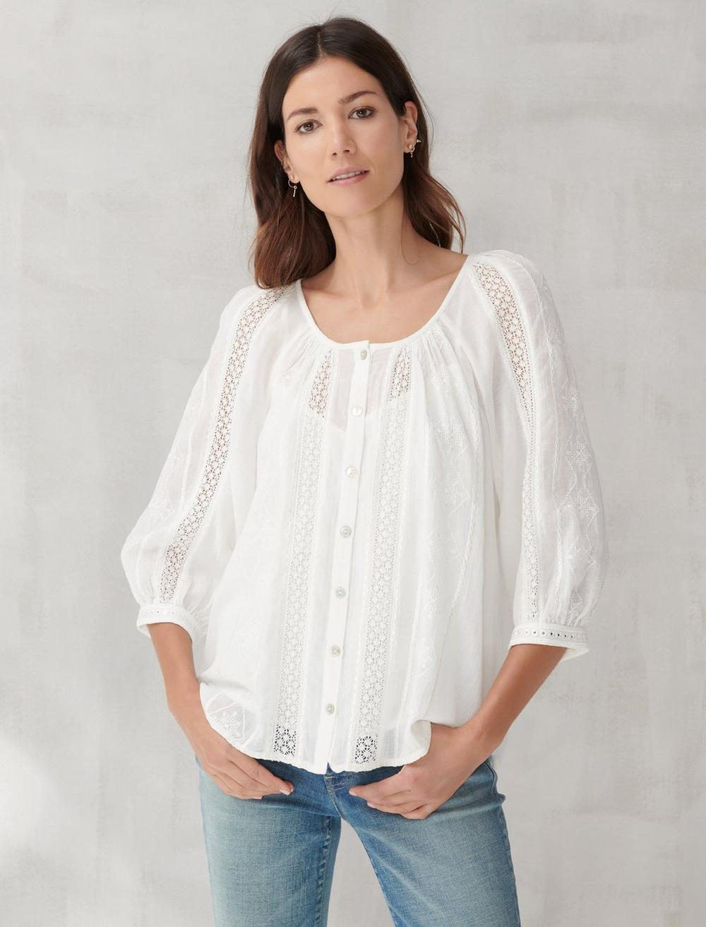 LACE INSET EMBROIDERED BUTTON TOP, image 1