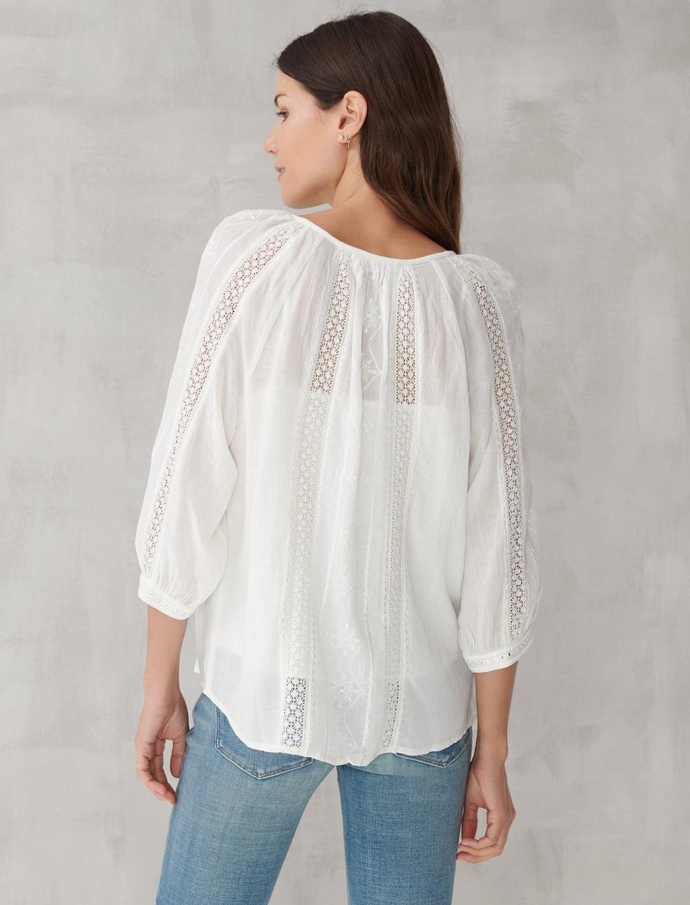 LACE INSET EMBROIDERED BUTTON TOP, image 4