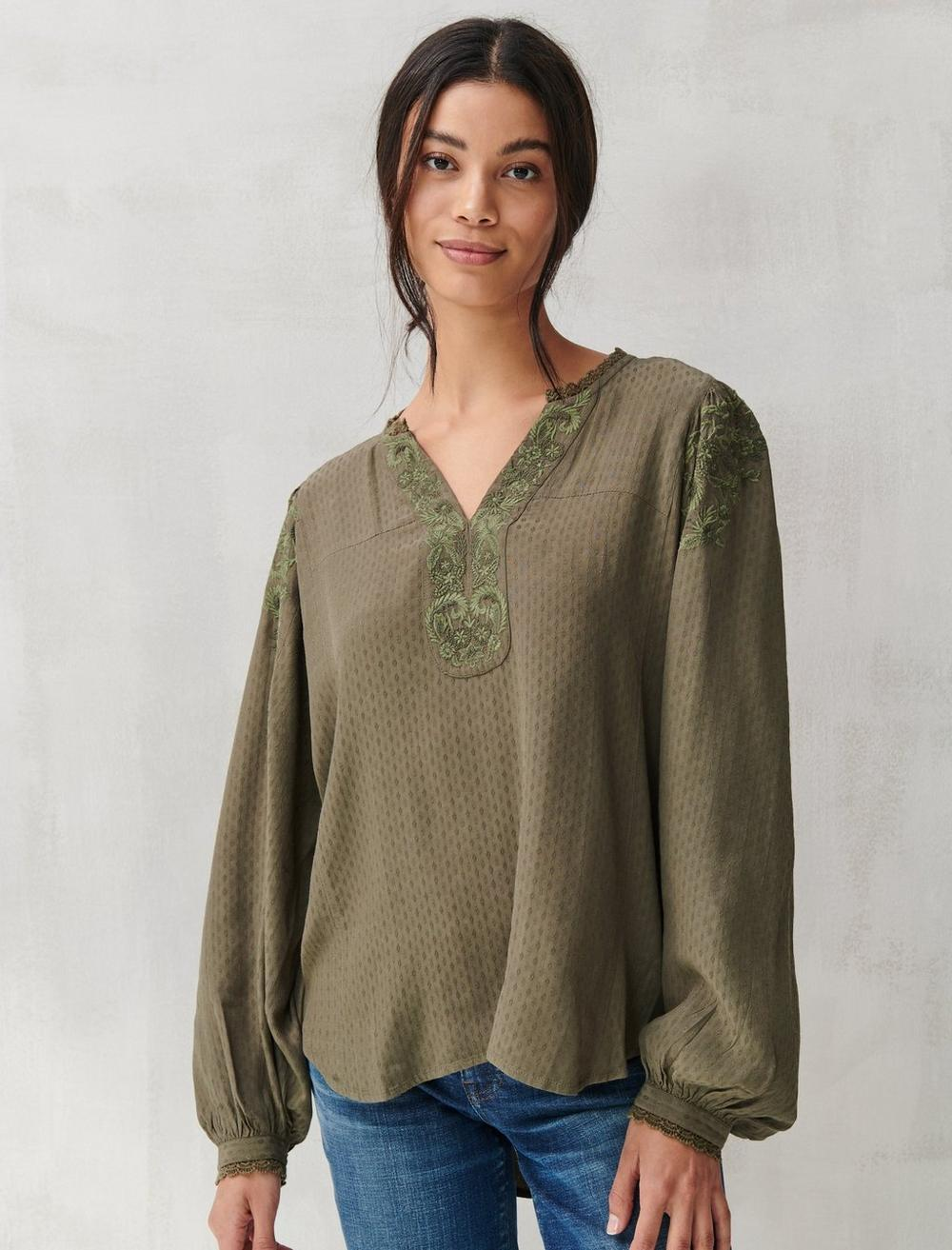 TEXTURED EMBROIDERED PEASANT TOP, image 1