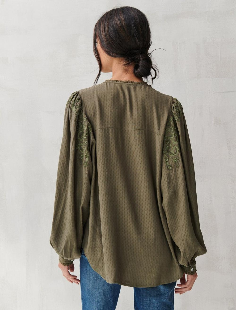 TEXTURED EMBROIDERED PEASANT TOP, image 5
