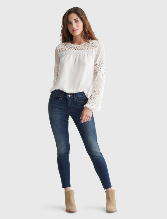 CHIFFON PANELED TUNIC BLOUSE, MARSHMALLOW, productTileDesktop