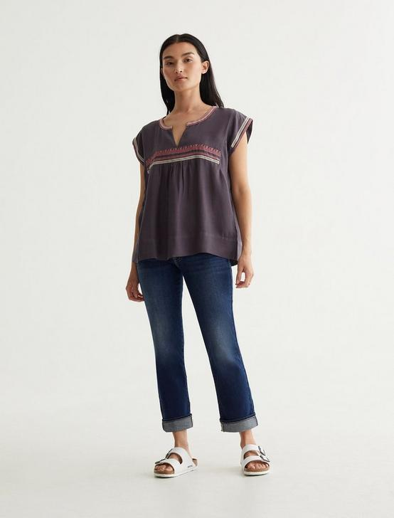 EMBROIDERED WOVEN TOP, GREYSTONE, productTileDesktop
