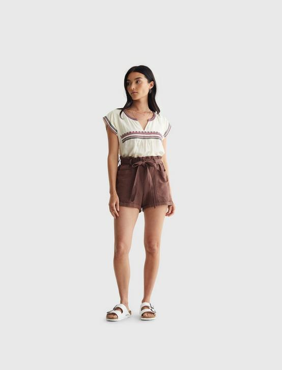 EMBROIDERED WOVEN TOP, CREAM MULTI, productTileDesktop