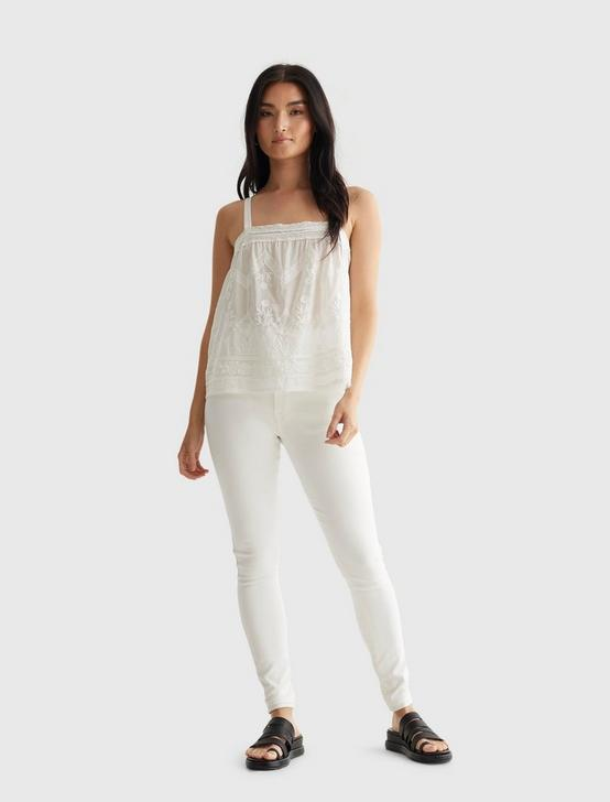 EMBROIDERED WOVEN TANK, BRIGHT WHITE, productTileDesktop